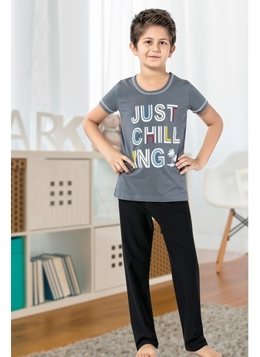 Siyah İnci Pijama Takım Gri